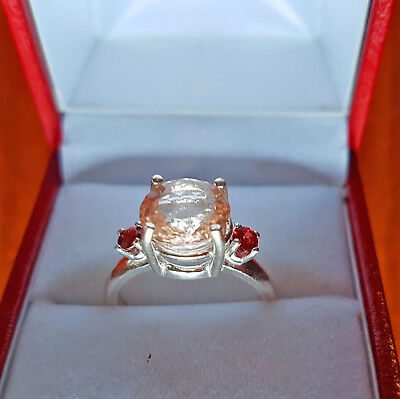 STUNNING,  MORGANITE AND SPINEL STERLING SILVER RING, SIZE N, 10mm & 3mm ROUND