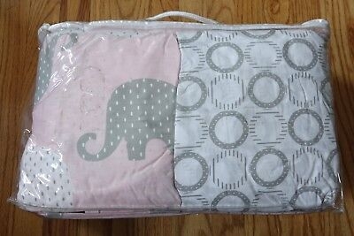 NoJo Dreamer -Pink/Grey Elephant 8 Piece Comforter/sheets/ruffle/pillow crib Set