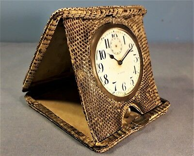 Antique Edwardian Swiss Made Snakeskin  Travel Clock