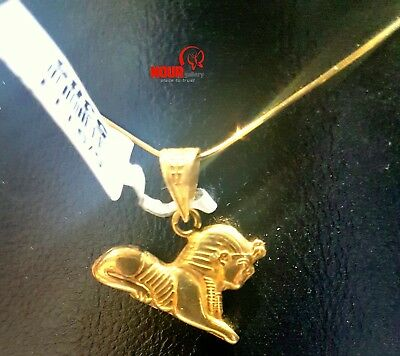 """Egyptian Handmade Ancient Great Sphinx of Giza 18K Yellow Gold Pendant 0.86"""""""