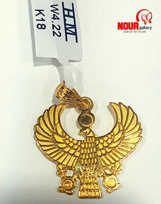 Egyptian Handmade Queen Isis with wings 18K Yellow Gold Pendant 4.22 g , 1.18''