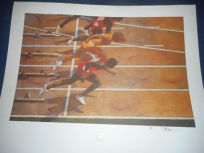 """Bart Forbes art print """" Starting Line """" 1992 US Olympic Team HAND SIGNED  track"""