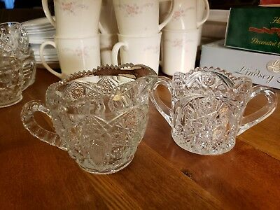 Vintage Clear Pressed Glass Creamer And Sugar Set Heavy