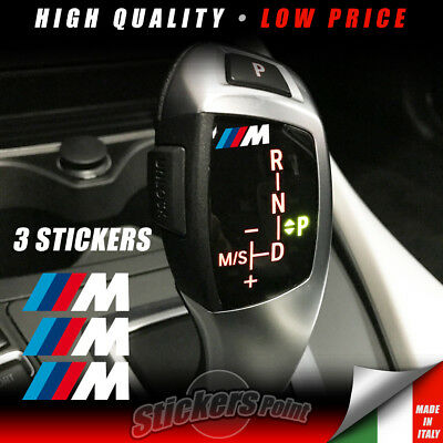 3 Adesivi pomello cambio M PERFORMANCE BMW stickers serie1-2-3-4-5-6-7 POWER