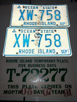 3 Rhode Island License Plates Good Condition XW-758 Temporary Tag 1991 91 & 92