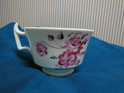 Antique English Pink Luster Lusterware Porcelain Tea Cup with Wishbone Handle