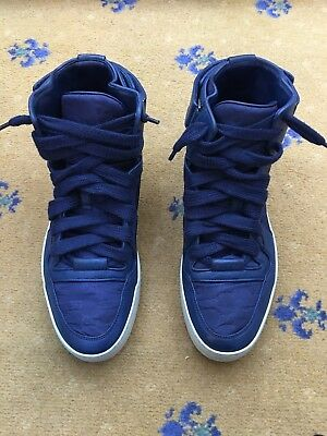 4327fa7f70d0 Gucci Mens Trainers Sneakers High Top blue Leather Nylon GG Shoes UK 9 US  10 43