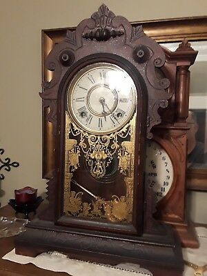 Beautiful Antique Welch Parlor Kitchen Gingerbread Clock! vintage old mantle USA