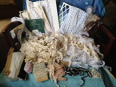 Large Lot of Antique Vintage Crochet Lace Sewing Notions Trim Crafts Ivory White
