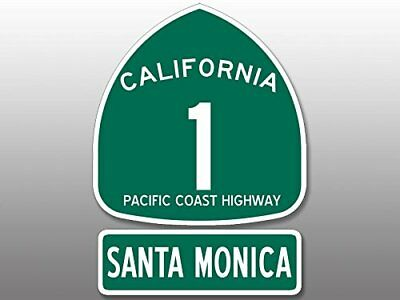 4x5.5 inch PCH 1 and SANTA MONCIA Sticker (Highway ca rv sign beach route road)