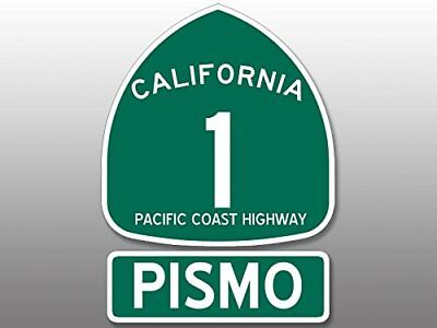 4x5.5 inch PCH 1 and PISMO Sticker (Highway ca rv beach route sign road travel)