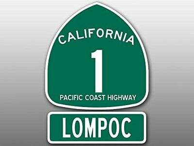 4x5.5 inch PCH 1 and LOMPOC Sign Shaped Sticker (Highway ca rv beach wine road)