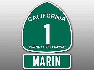 4x5.5 inch PCH 1 and MARIN Sign Shaped Sticker (Highway ca rv Beach Route Road)
