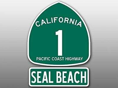 4x5.5 inch PCH 1 and SEAL BEACH Sticker (Highway ca rv sign travel route road)
