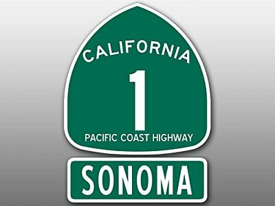 4x5.5 inch PCH 1 and SONOMA Sticker (Highway ca rv sign wine beach Route Road)