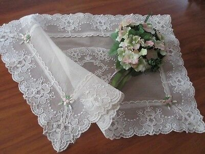 Lovely European Re-Embroidered Lace Table Centre