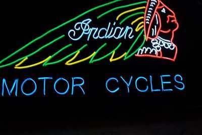 """INDIAN MOTOR CYCLE EL WIRE COOL NEON SIGN 12""""x 24"""" 12V"""