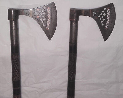Vintage persian old engraved antique ancient rare pair of axes, ottoman?islamic?