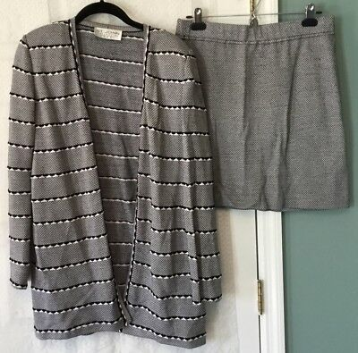 St John Collection By Marie Gray  Black White Knit Sweater Jacket Skirt Set 12