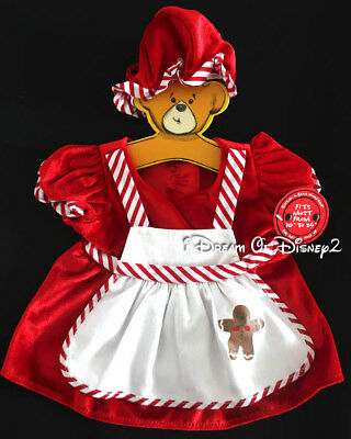 Build-A-Bear MRS CLAUS RED DRESS/HAT Candy Cane Stripes Teddy CHRISTMAS Clothes