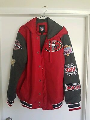 San Francisco 49ers  Hooded Jacket celebrating all their Superbowl wins.  Size M