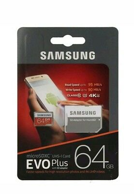 Samsung 64GB Micro SD Card EVO PLUS CLASS-10 - U3  memory card  with Adapter
