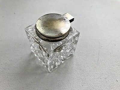 "Cut Glass Crystal Fountain Pen Inkwell Square Base  1 5/8"" X 1 5/8"" Lovely!"