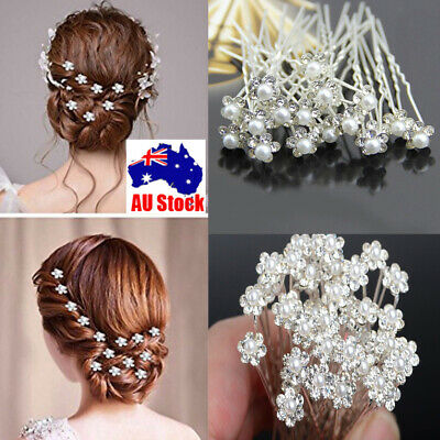 20-40Pcs Wedding Bridal Pearl Flower Crystal Hair Pins Clips Bridesmaid AU Stock