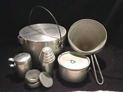 Lot of VINTAGE ALUMINUM cookware camping pots w lids, shaker, strainer,  2 cups