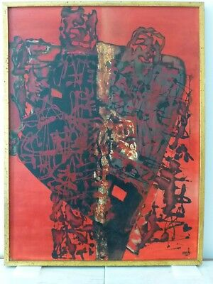 VINTAGE ABSTRACT EXPRESSIONIST OIL PAINTING MID CENTURY MODERN 1950s Signed