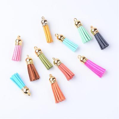 10 x Faux Suede Tassel Decoration with Golden End various Colors(T002-B)