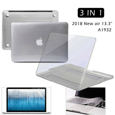 Fr 2018 Macbook Air A1932 13.3 inch Glossy Clear Crystal Hard Case+KB Cover+LCD
