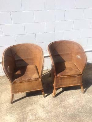 Antique Commode Chairs x 2 rattan