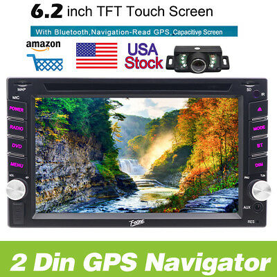 """6.2"""" Double 2 DIN Car Stereo DVD Player Bluetooth Radio GPS InDash+Backup Camera"""