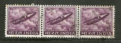 India - Strip of 3 - Used
