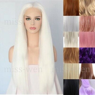 "AU 24"" Heat Resistant Hair Silky Straight GlueLess Lace Front Wig Cosplay Party"