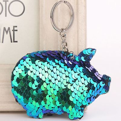 Pig Keychain Glitter Pompom Sequins Key Chain Gifts Car Bag Accessories Colorful