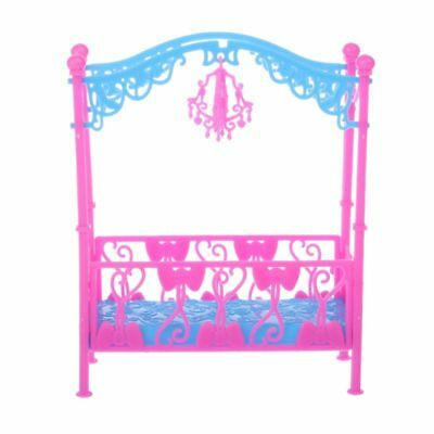 Bed With Ornaments Bedroom Furniture For Kelly Barbie Doll Girl Accessories Toys