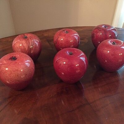 Red Marble Apple Paperweights