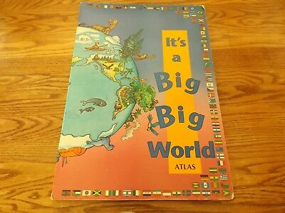 IT'S A BIG BIG WORLD ATLAS Children's Book Giant Large Pictures Flags Globe 1991
