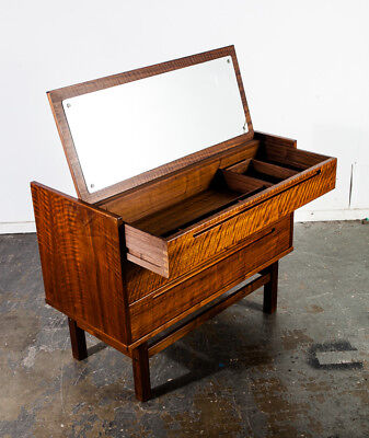 Mid Century Danish Modern Vanity Chest Drawers Teak Nils Jonsson Torring Mirror