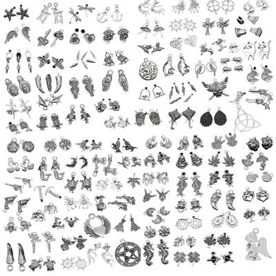 Wholesale 50Pcs Antique Silver Jewelry Charms Pendant Carfts DIY Finding aua