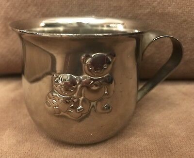 Vintage Stainless Steel Bear Decorated Baby Cup Made In Hong Kong