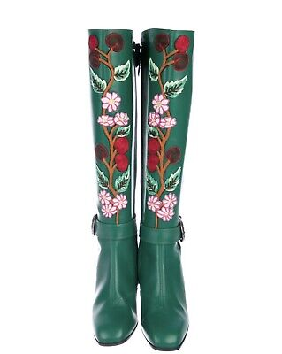 e48360180 Gucci SS17 embroidered Leather Knee Boots Sz 38 In Pristine Condition Some  Wear