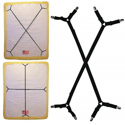 Bed Sheet Holder Straps Fitted Suspenders Adjustable Crisscross Band Grippers