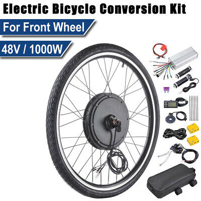 "26"" 1000W Front Wheel Electric Bicycle Conversion Kit E-Bike PAS LCD Motor 48V"