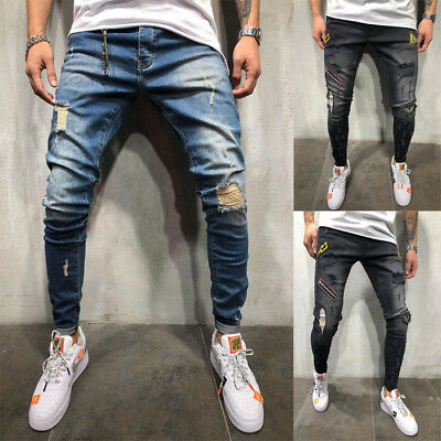 Men's Fashion Ripped Slim Skinny Biker Hole Jeans Destroyed Denim Pants Trousers