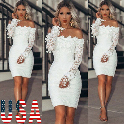 Women's Lace Bandage Bodycon Evening Party Cocktail Formal Bridesmaid Mini Dress