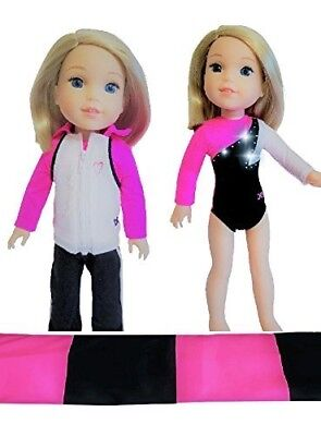 Doll Connections Gymnastics Outfit Compatible with Wellie Wishers American Girl