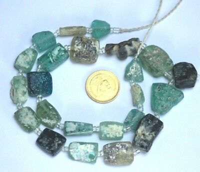 Ancient Roman Glass Old Square Beads Artifacts Necklace 19 pcs Random Mixed Size